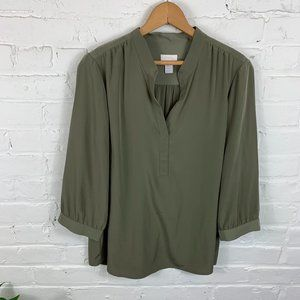 Chico's V- Neck 3/4 Sleeve Green Blouse Size M
